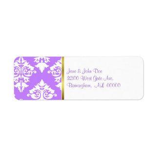 Etiquetas púrpuras y blancas del damasco etiqueta de remite