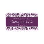 Etiquetas púrpuras y blancas del favor del boda de etiquetas de dirección