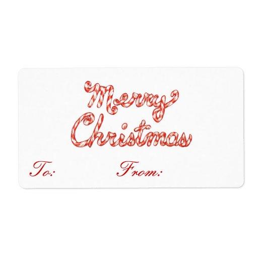 Etiquetas rayadas del regalo de las Felices Navida Etiquetas De Envío