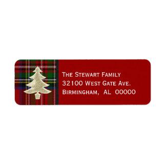 Etiquetas reales festivas del navidad de la tela etiqueta de remite