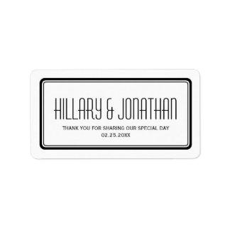 Etiquetas rectangulares blancas negras del favor d etiquetas de dirección