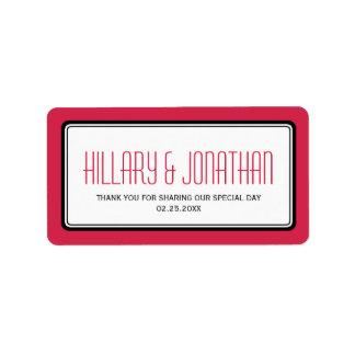 Etiquetas rectangulares negras rojas del favor del etiqueta de dirección