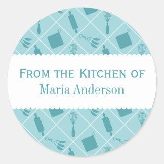 Etiquetas redondas de la cocina de los utensilios