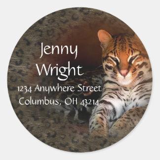 Etiquetas redondas del remite del gato de Bengala