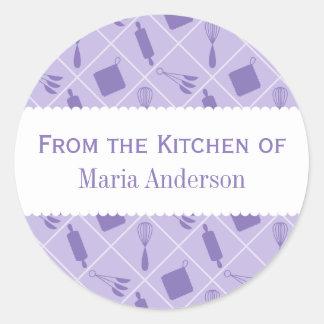 Etiquetas redondas púrpuras retras de la cocina de