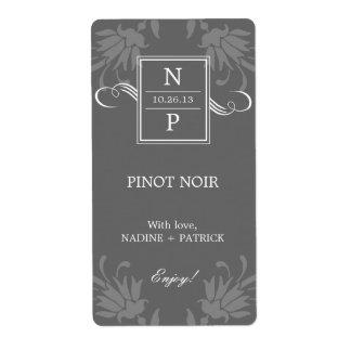 Etiquetas refinadas del vino del boda de la elegan etiqueta de envío