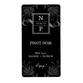 Etiquetas refinadas del vino del boda de la elegan etiquetas de envío