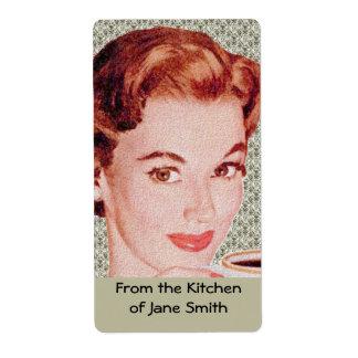 Etiquetas retras de la cocina de los años 50 etiquetas de envío