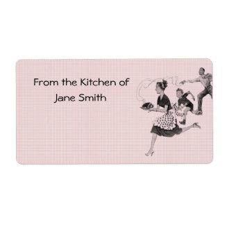 Etiquetas retras de la cocina de los años 50 etiqueta de envío