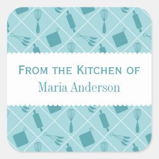 Etiquetas retras de la cocina de los utensilios calcomanías cuadradas personalizadas
