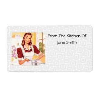 Etiquetas retras de la cocina del cocinero de los  etiquetas de envío