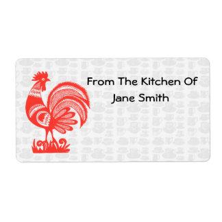 Etiquetas retras de la cocina del gallo de los año etiquetas de envío