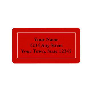 Etiquetas rojas con seña preimpresa de encargo de  etiqueta de dirección