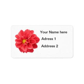 Etiquetas rojas de la dalia etiquetas de dirección