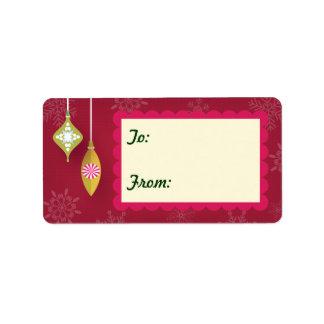 etiquetas rojas de la etiqueta del regalo de los etiquetas de dirección