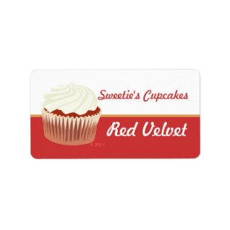 Etiquetas rojas de la magdalena del terciopelo etiqueta de dirección