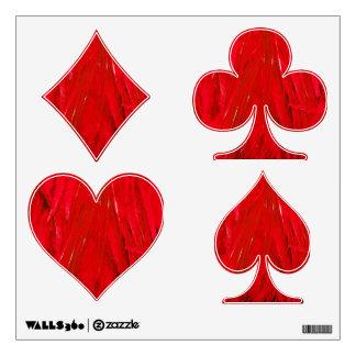Etiquetas rojas de la pared del juego del naipe de