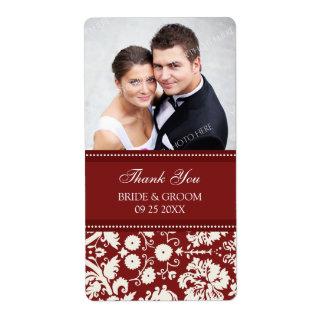 Etiquetas rojas del boda de la foto del damasco etiqueta de envío