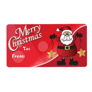 Etiquetas rojas del regalo de Papá Noel de las Etiqueta De Envío