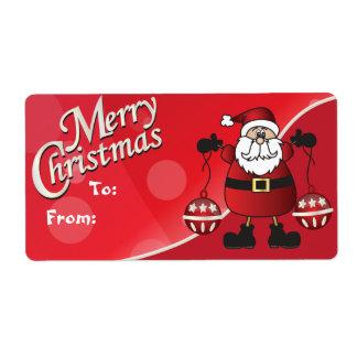 Etiquetas rojas del regalo de Papá Noel de las Etiquetas De Envío