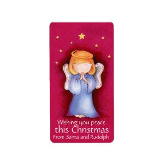Etiquetas rojas del regalo del ángel del navidad etiquetas de dirección