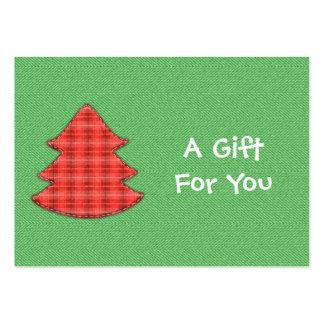 Etiquetas rojas del regalo del árbol de la tela tarjetas de visita grandes