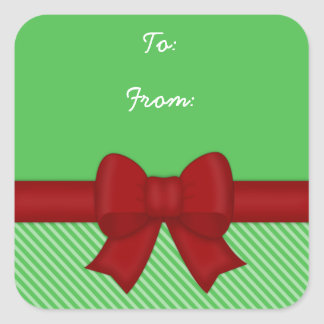 Etiquetas rojas del regalo del arco del día de pegatina cuadrada