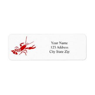 Etiquetas rojas del remite de la langosta etiqueta de remitente