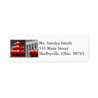 Etiquetas rojas del remite de las bolas del etiqueta de remitente
