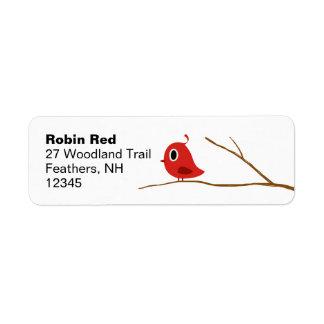 Etiquetas rojas del remite del pájaro etiqueta de remite