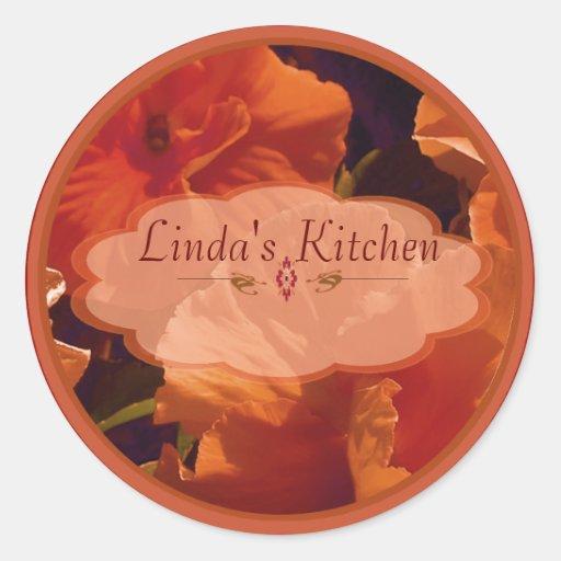 etiquetas rojas del tarro de la especia de la flor pegatina redonda
