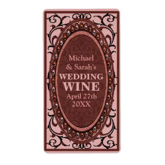 Etiquetas rojas del vino del boda del Victorian Etiqueta De Envío
