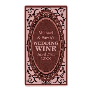 Etiquetas rojas del vino del boda del Victorian de Etiquetas De Envío