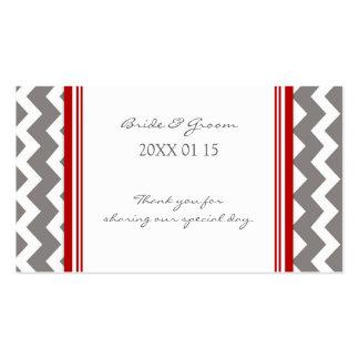 Etiquetas rojas grises del favor del boda de Chevr Plantillas De Tarjetas De Visita