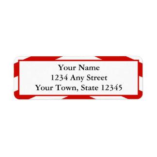 Etiquetas rojas modernas de encargo del remite de  etiqueta de remitente