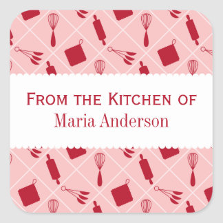 Etiquetas rojas retras de la cocina de los calcomanía cuadradas personalizada