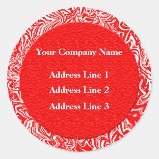 Etiquetas rojas y blancas de la dirección pegatinas redondas