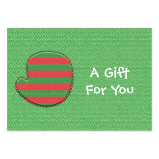Etiquetas rojas y verdes del regalo de la manopla tarjetas de visita grandes