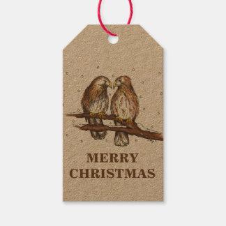 Etiquetas Rojo-Atadas del navidad de los pájaros Etiquetas Para Regalos