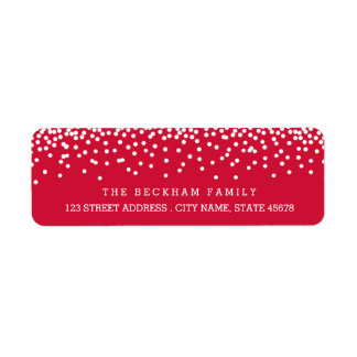 Etiquetas/rojo del remite del día de fiesta de la etiqueta de remitente
