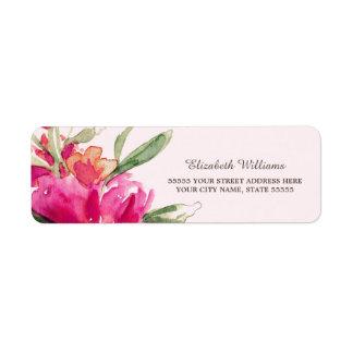 Etiquetas románticas del remite del diseño floral etiqueta de remitente