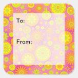 Etiquetas rosadas amarillo-naranja del regalo del colcomanias cuadradass
