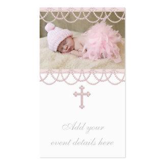 Etiquetas rosadas de Bomboniere de la cruz de la p Plantilla De Tarjeta De Visita