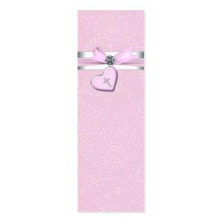 Etiquetas rosadas de Bomboniere de la cruz del ros Plantilla De Tarjeta De Negocio