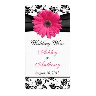 Etiquetas rosadas de la botella de vino del boda d etiqueta de envío