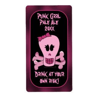 Etiquetas rosadas de la cerveza del cráneo y de la etiquetas de envío
