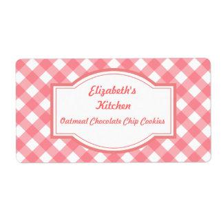 Etiquetas rosadas de la cocina de la guinga etiquetas de envío