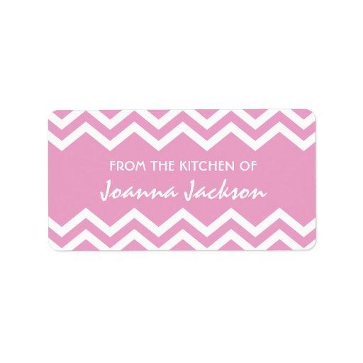 Etiquetas rosadas de la cocina del modelo del galó etiquetas de dirección