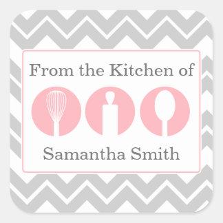 Etiquetas rosadas de la cocina del trío de los ute