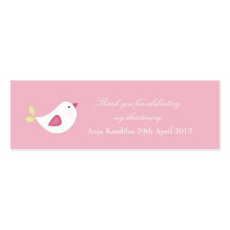 Etiquetas rosadas de la fiesta de bienvenida al tarjetas de visita mini